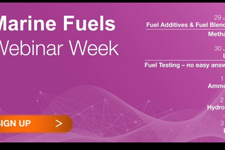 Poster of program for the Marine Fuels Webinar Week
