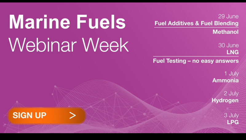 Poster of program for the Marine Fuels Webinar Week