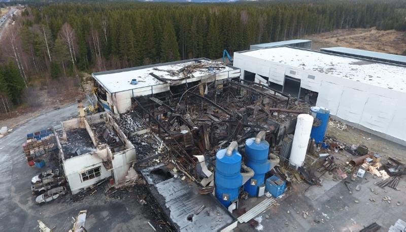 Metallco explosion 2017 (Photo: B. Lunde, NRK).
