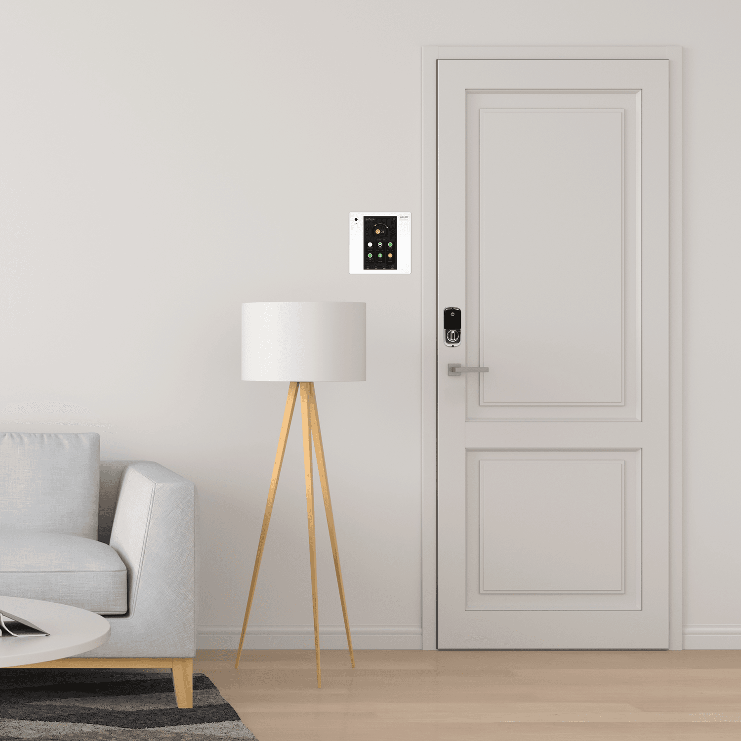 image of front door with smart home hub and lamp in view from inside