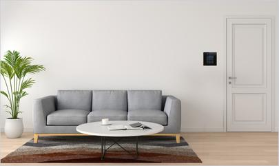 apartment living room with smart devices on display