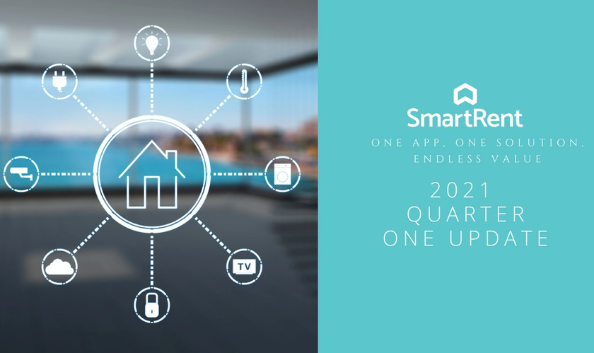 Image of smart home icons with SmartRent logo and text