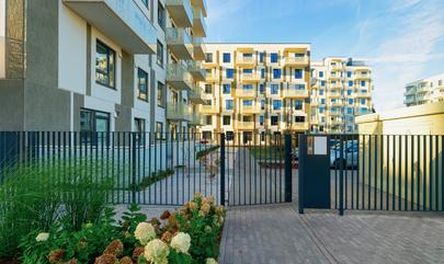 image of access control gate at apartment complex