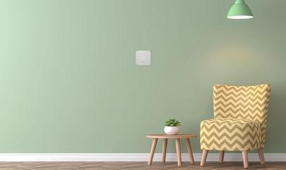 green wall with smart thermostat