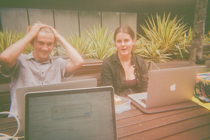 Lachie and Lauren working on Kua's carbon footprint assessment.