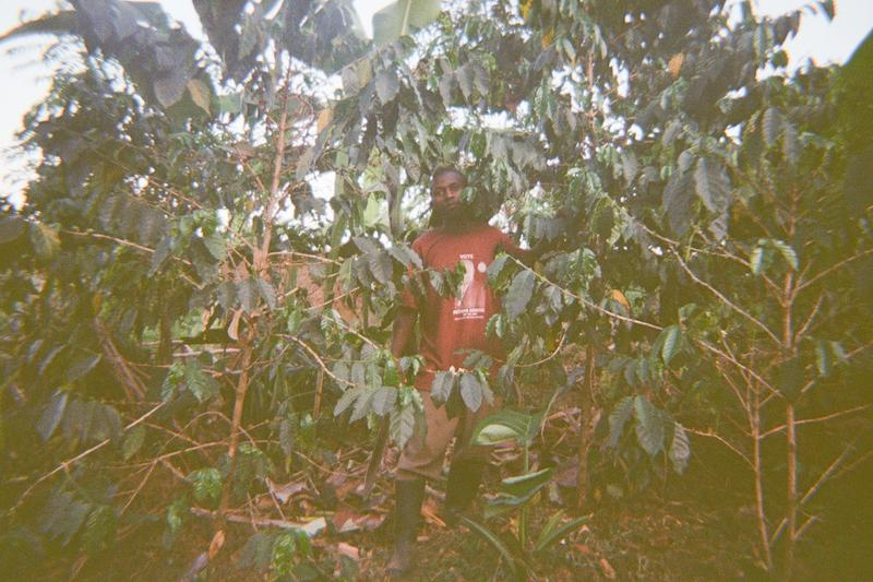 Samson is one of the farmers of coffee around the mountains showing how to maintain the garden.