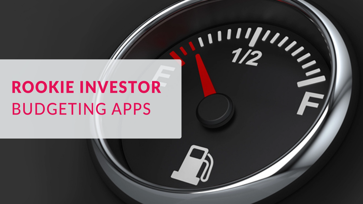 fuel gauge with 'Rookie Investor, Budgeting Apps' title.