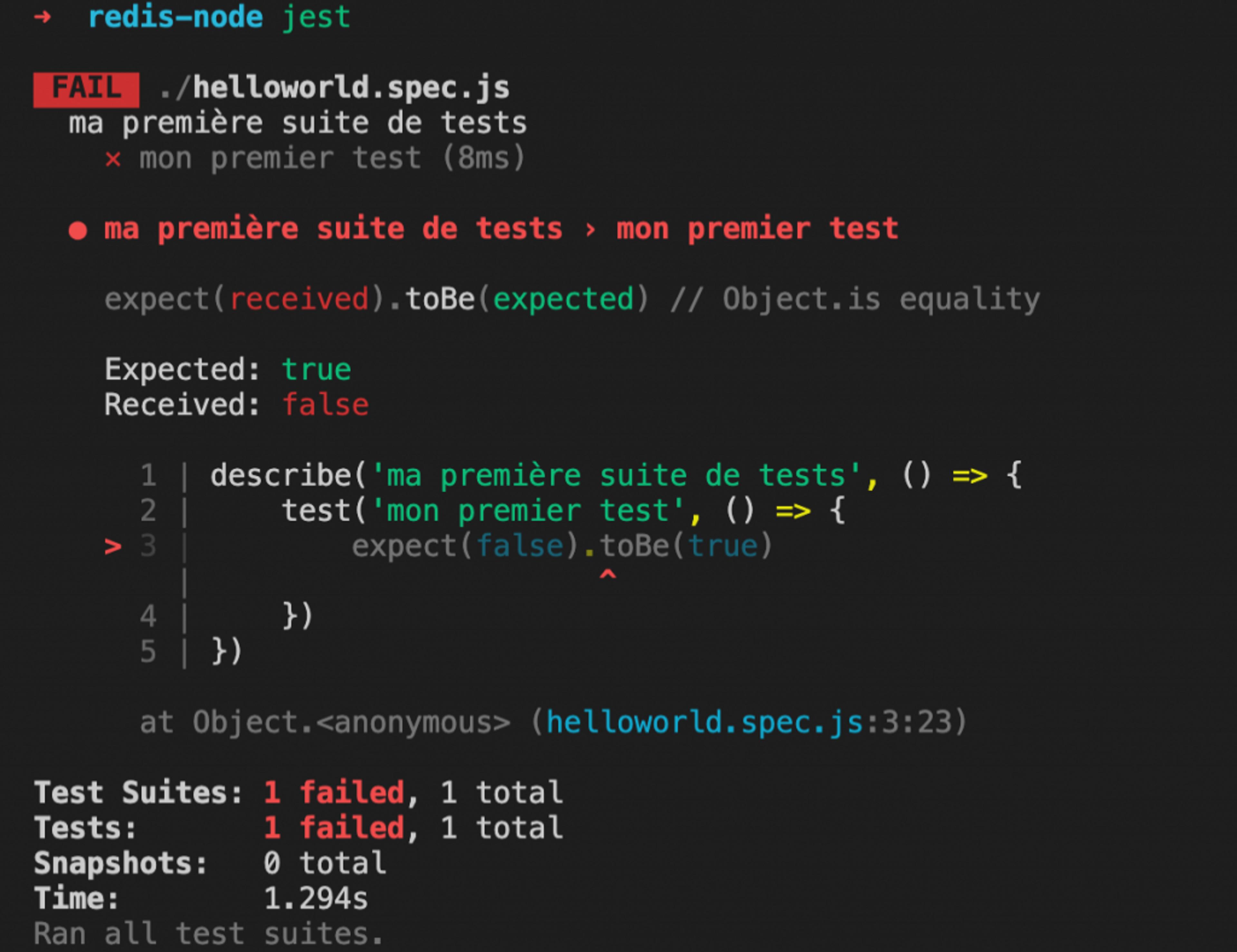 exemple de test jest echec