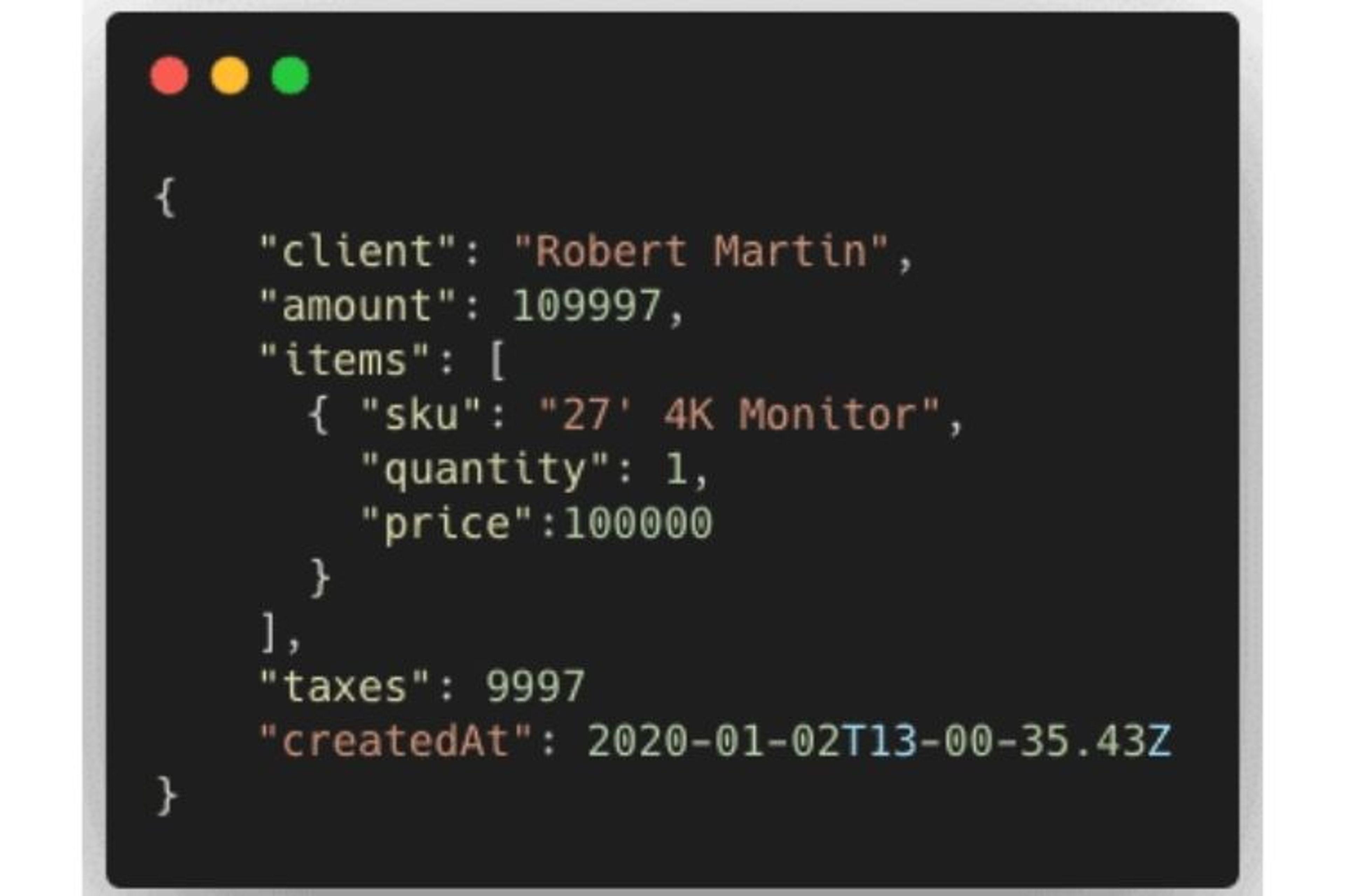 Objet JSON représentant une transaction en vue de montrer un mongodb index partial