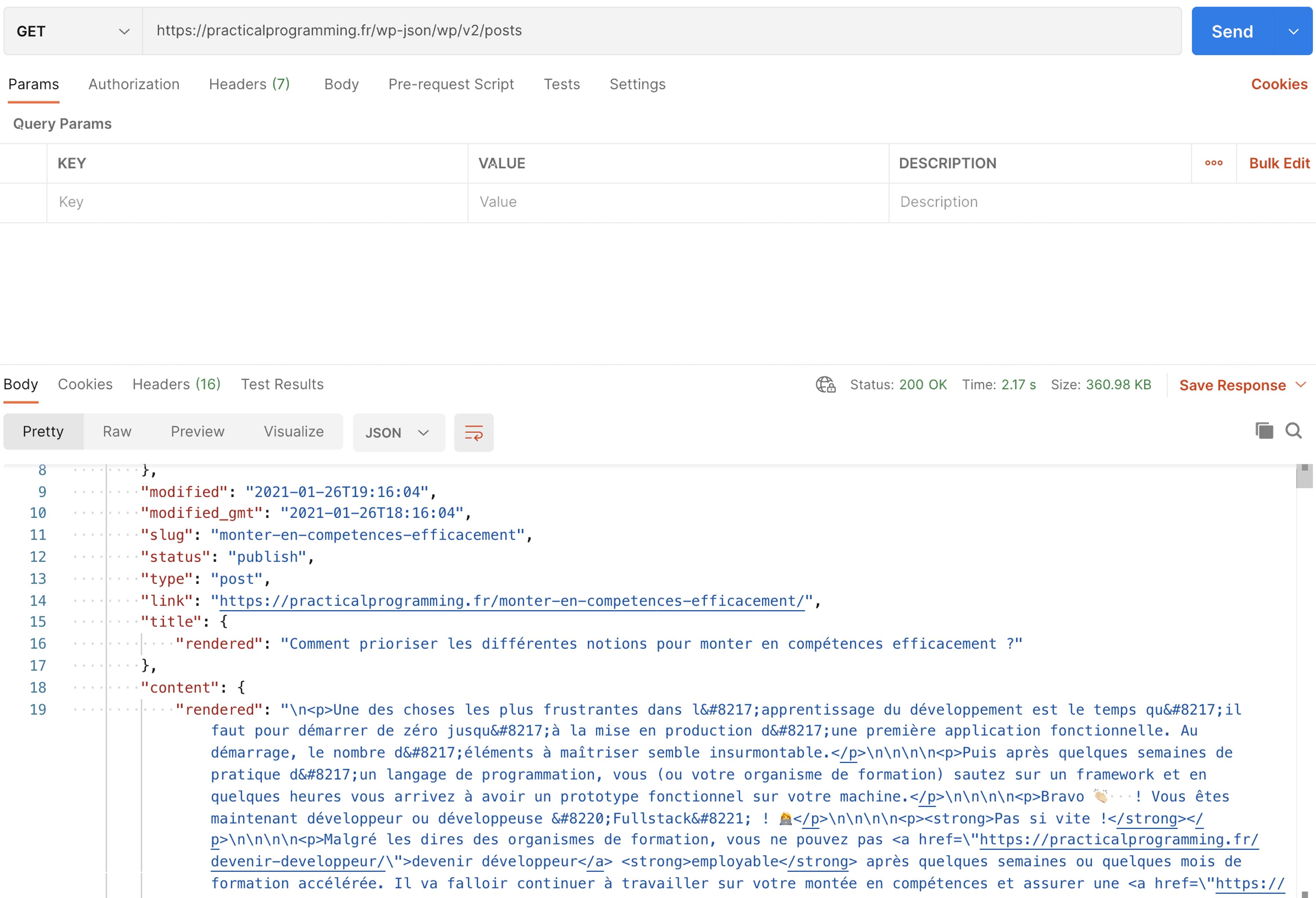 Réponse de l'API Wordpress lorsqu'on récupère les articles. Le contenu de l'article est sous forme de HTML encapsulé dans une chaîne de caractères