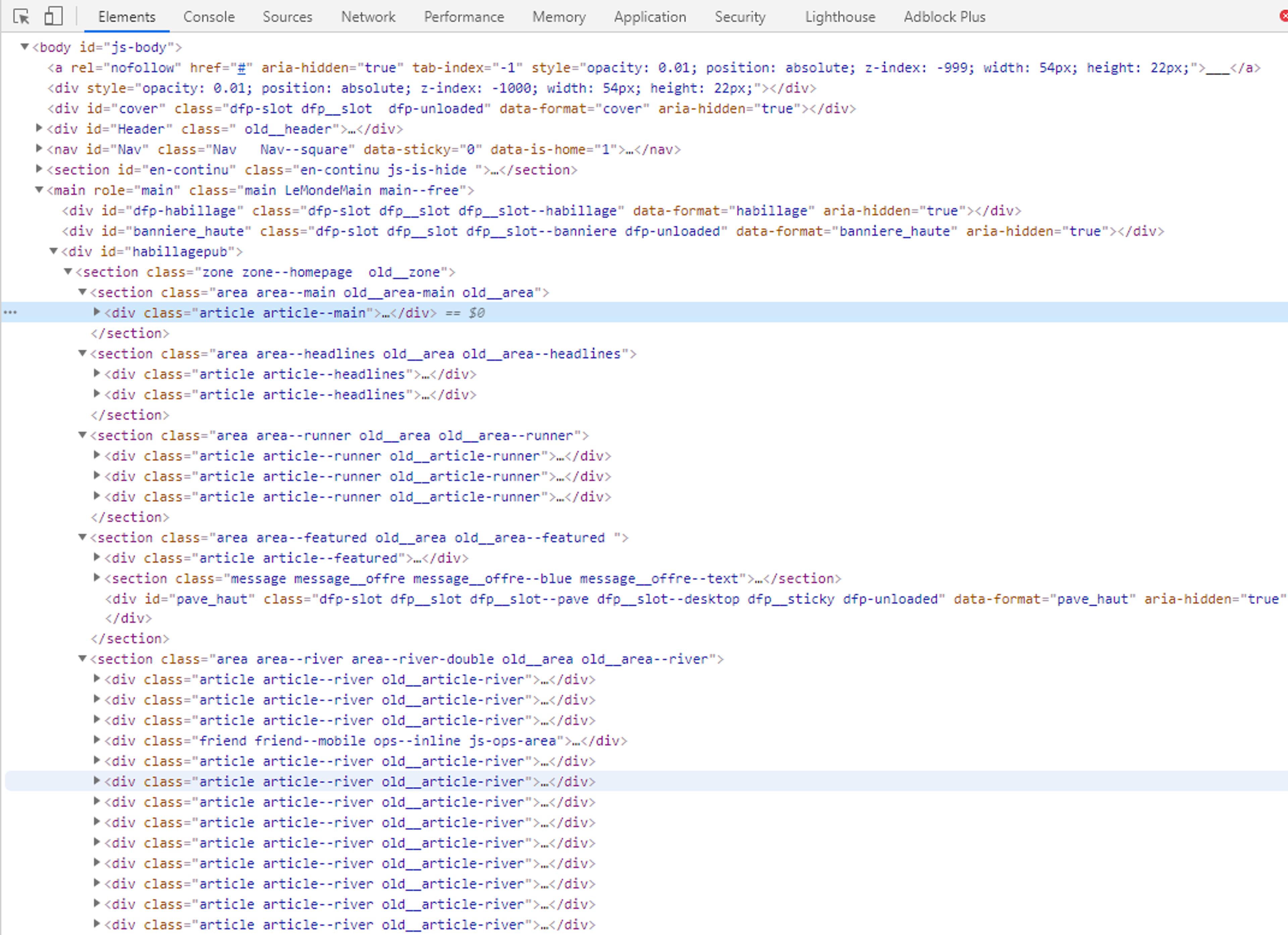 DOM parcouru en web scrapping php
