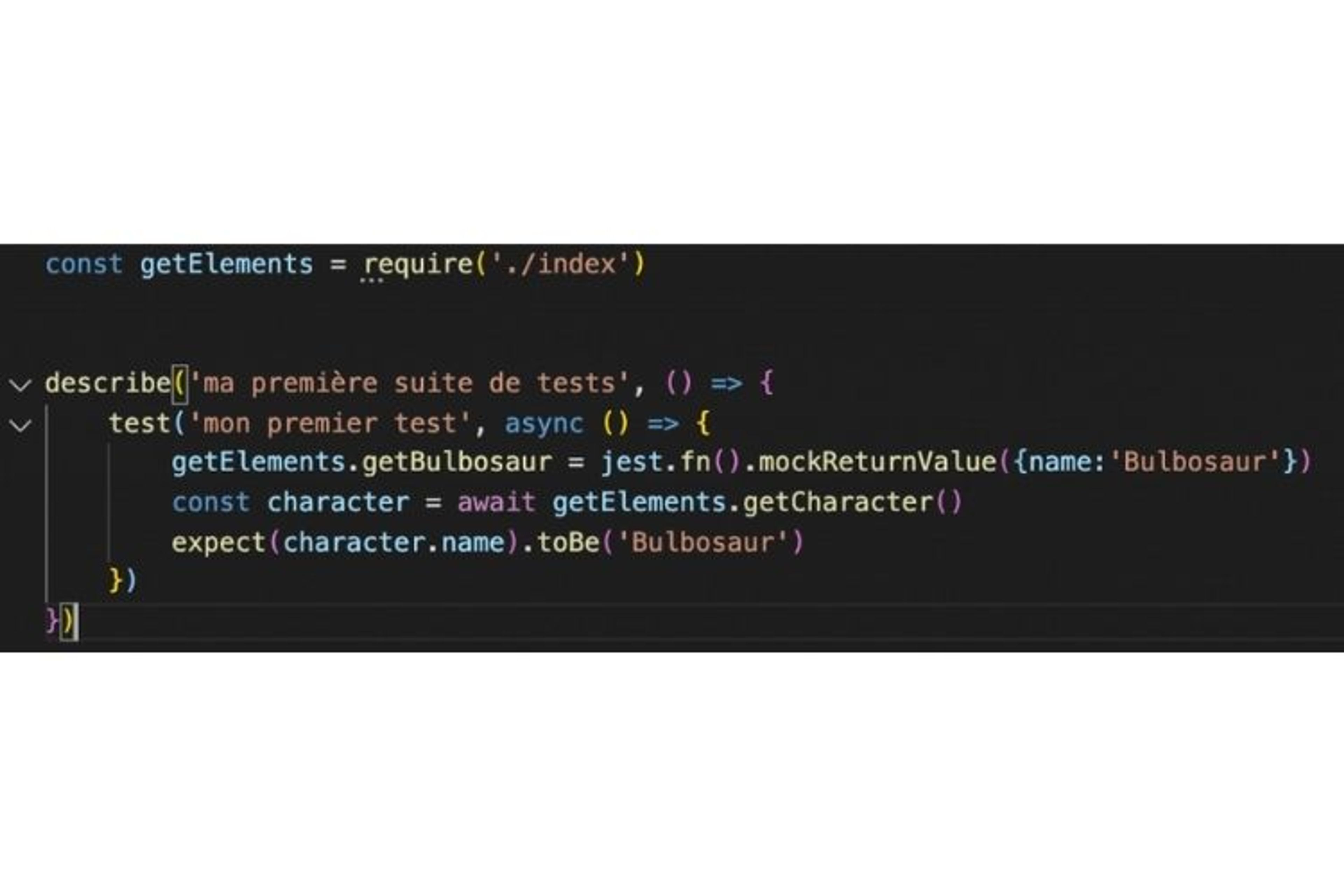 Dans mon test, j'utilise la méthode jest.fn et mockReturnValue pour abstraire l'appel API