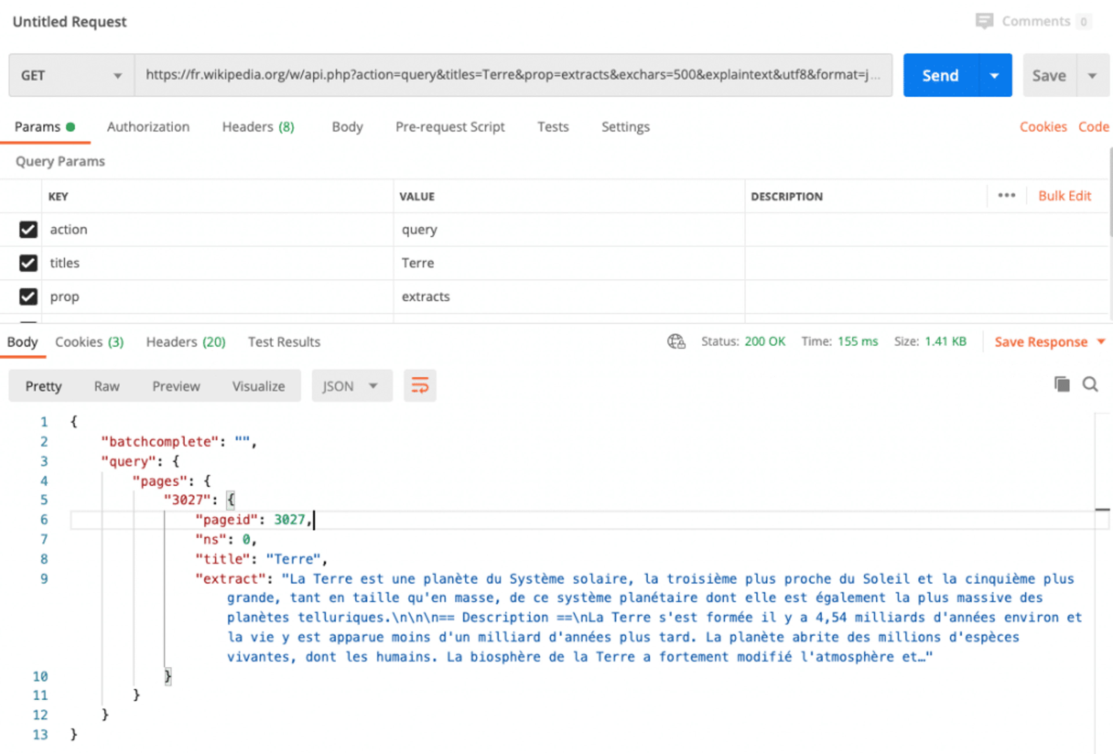 Exemple d'appel à l'API REST de wikipedia