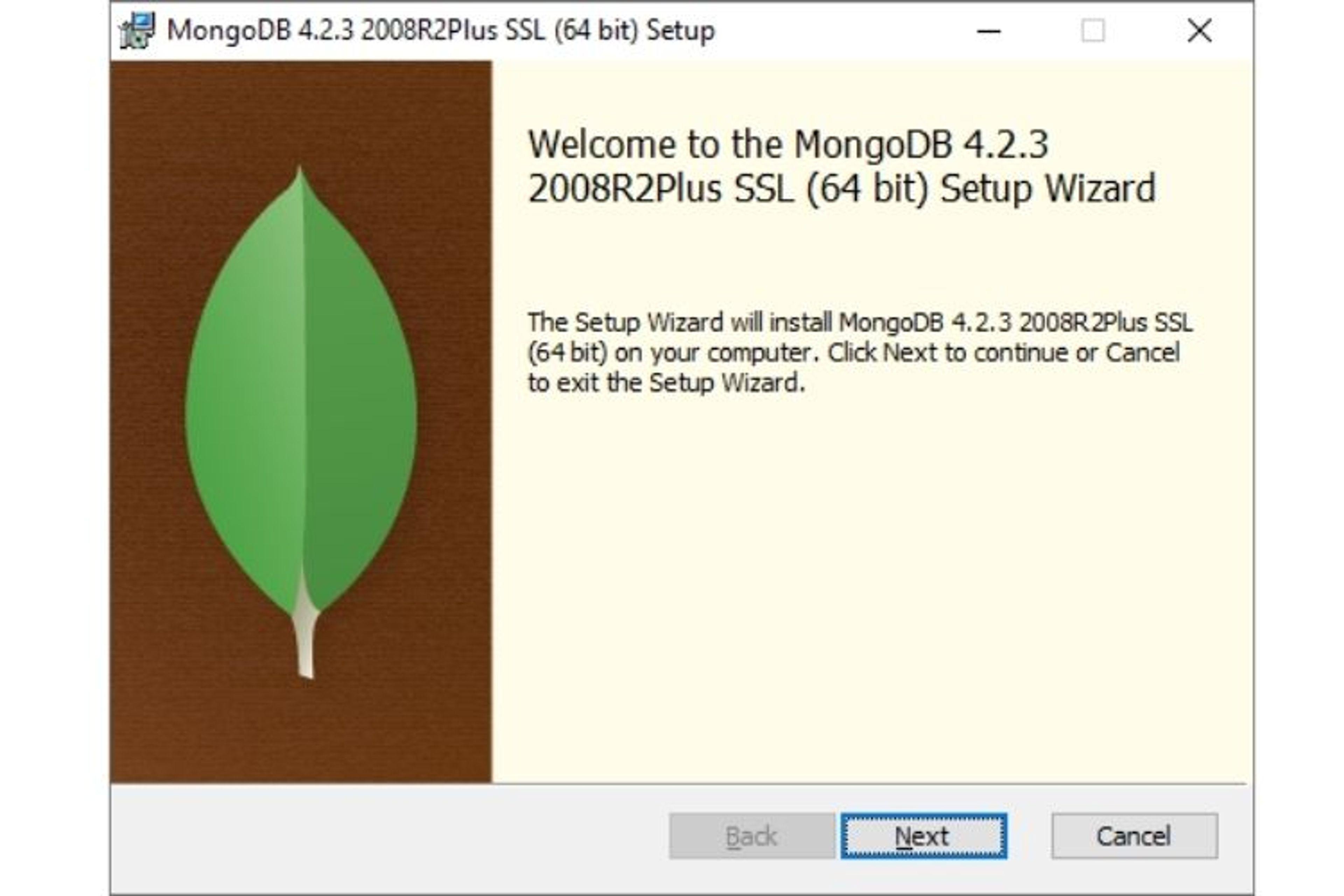 Suivre les étapes de l'installeur windows pour MongoDB