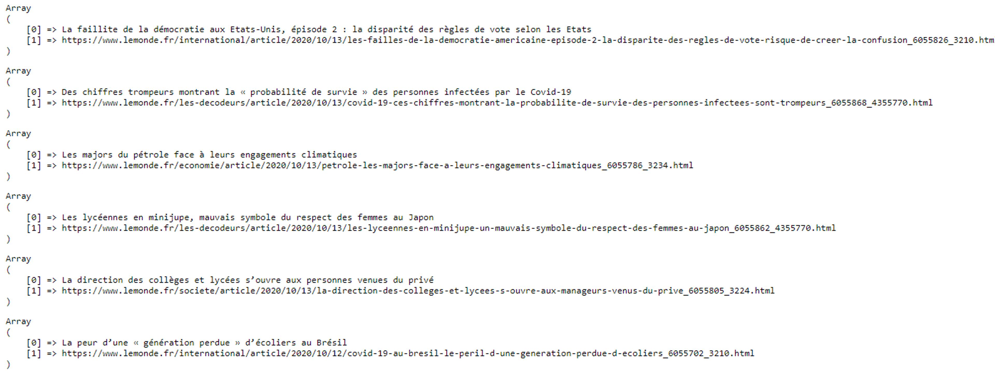 Voici les résultats des titres et des liens scrapés par notre script php