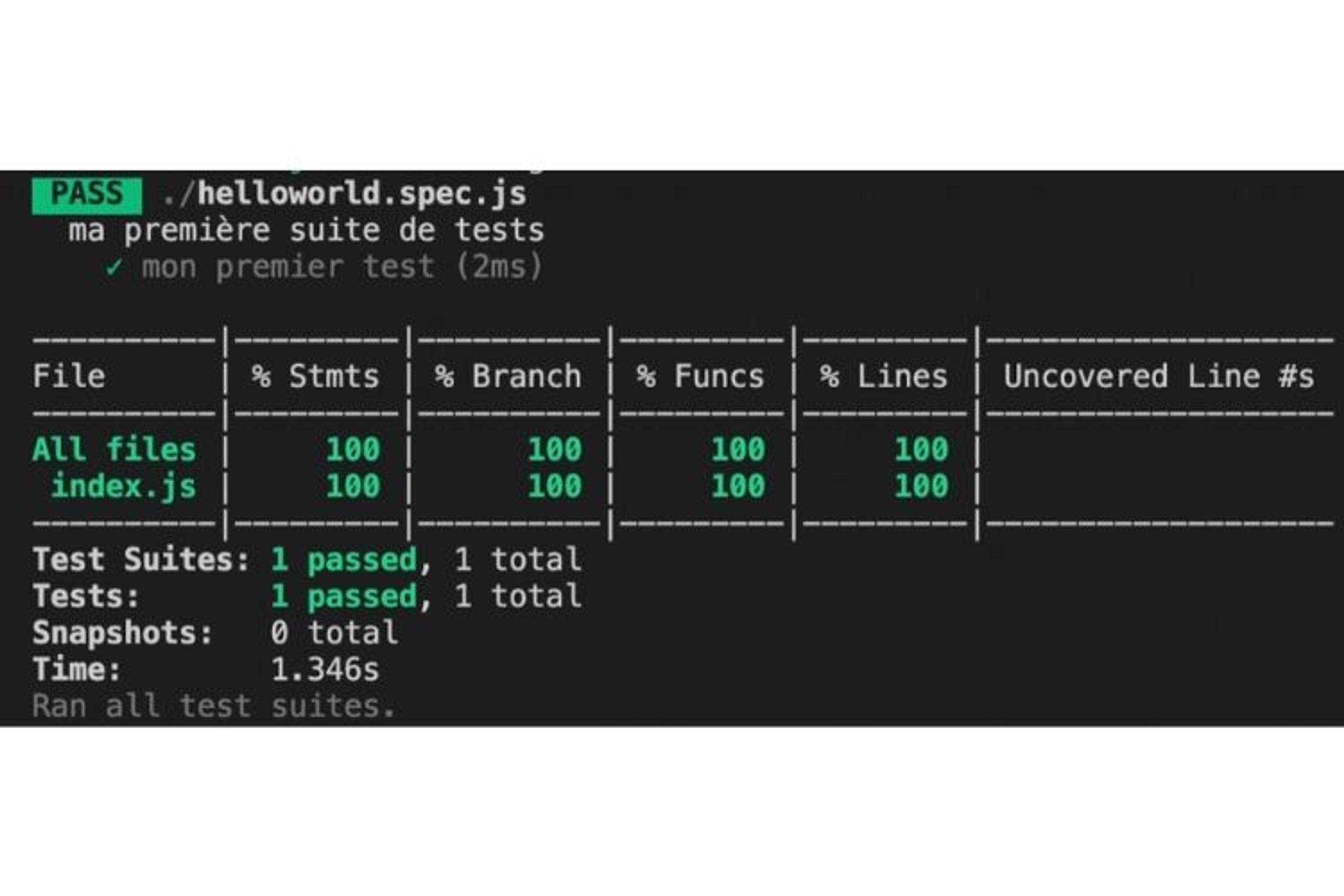 Notre couverture de test est à 100% car notre test unitaire passe bien par toutes les lignes de code du fichier index.js