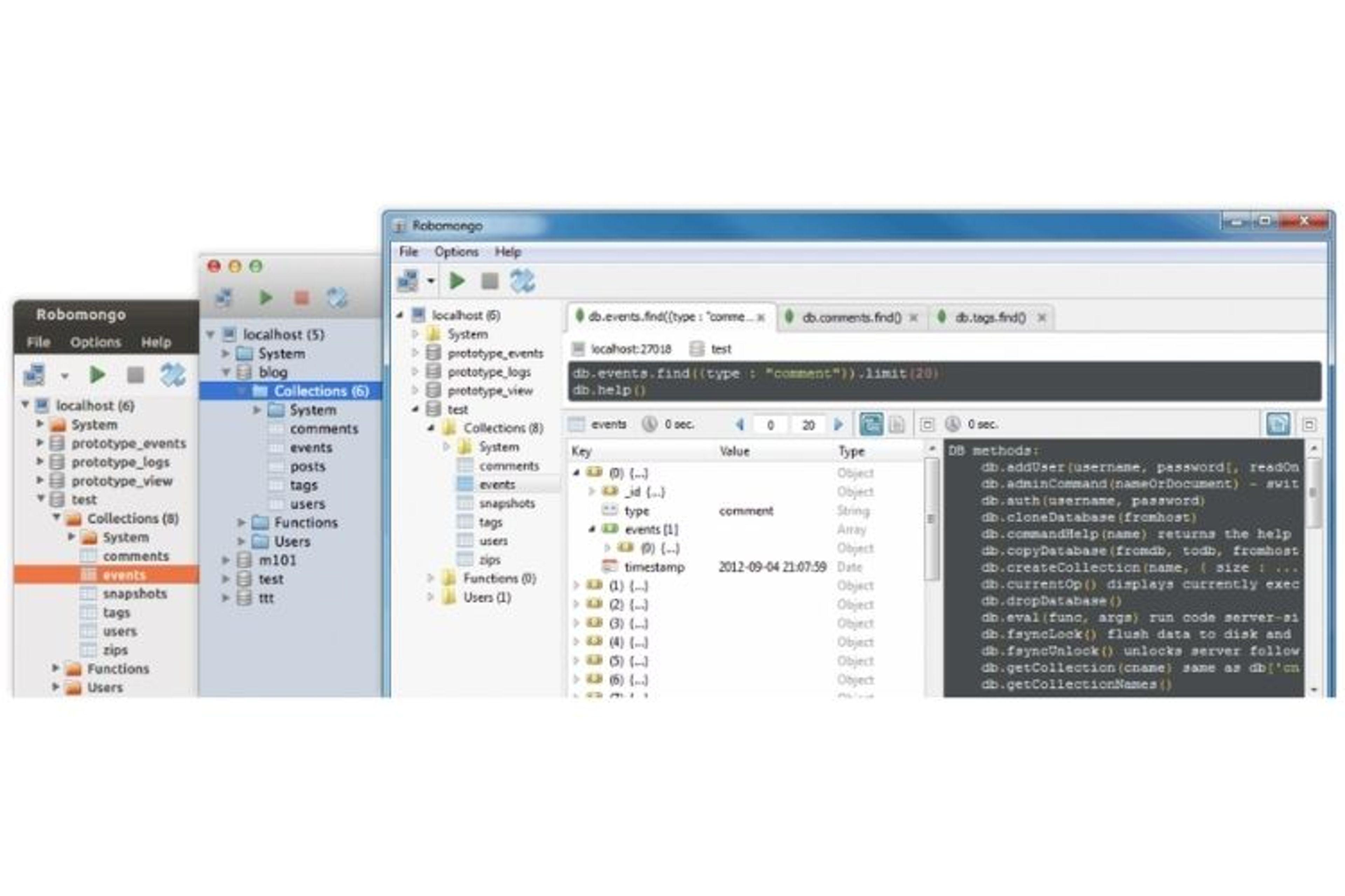 RoboMongo, aussi appelé Robo 3T, est un Mongodb Client compatible Windows, Mac et Linux.