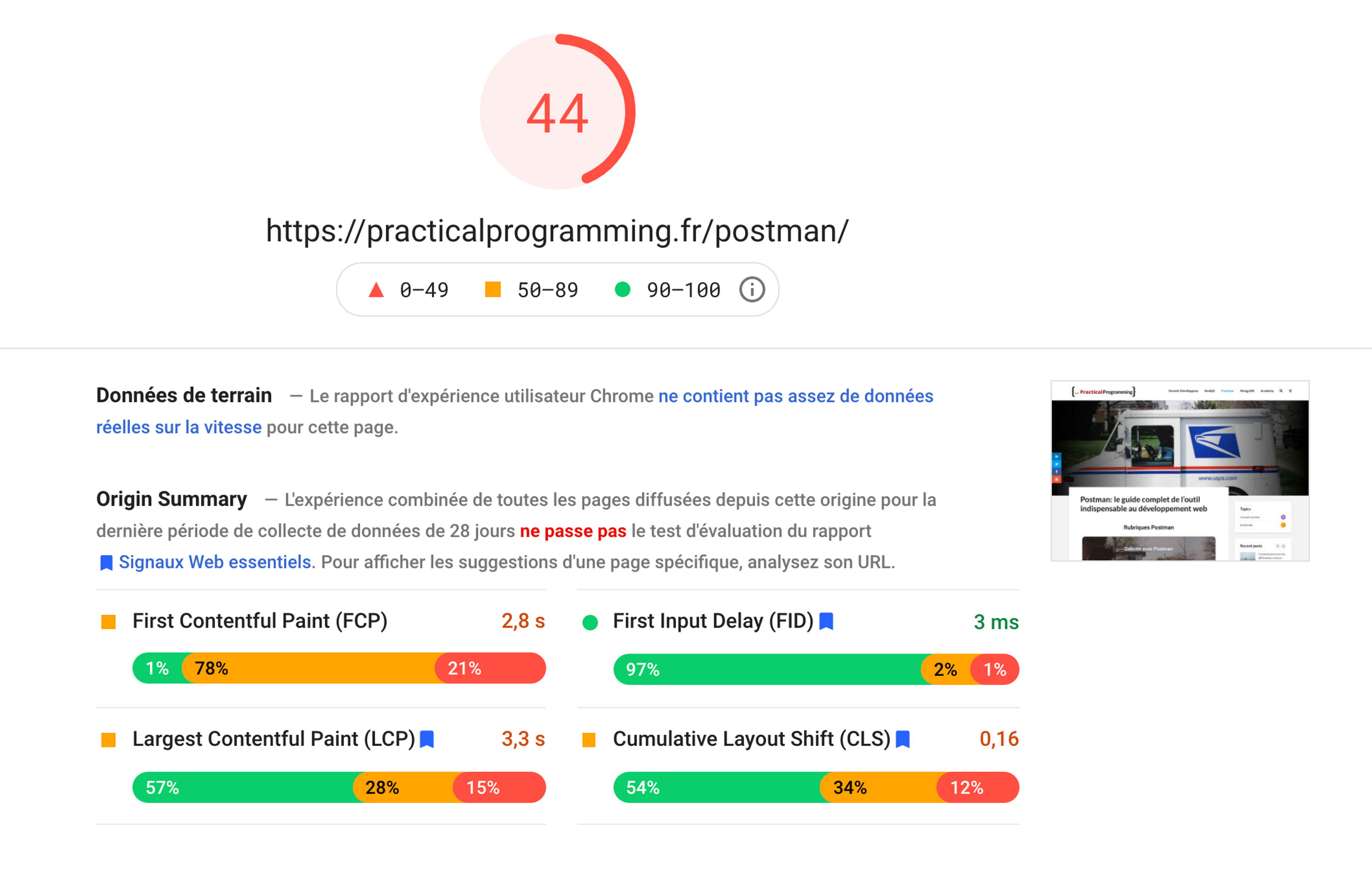 Sur Desktop, le score google PageSpeed est un peu mieux mais reste sous les 50%