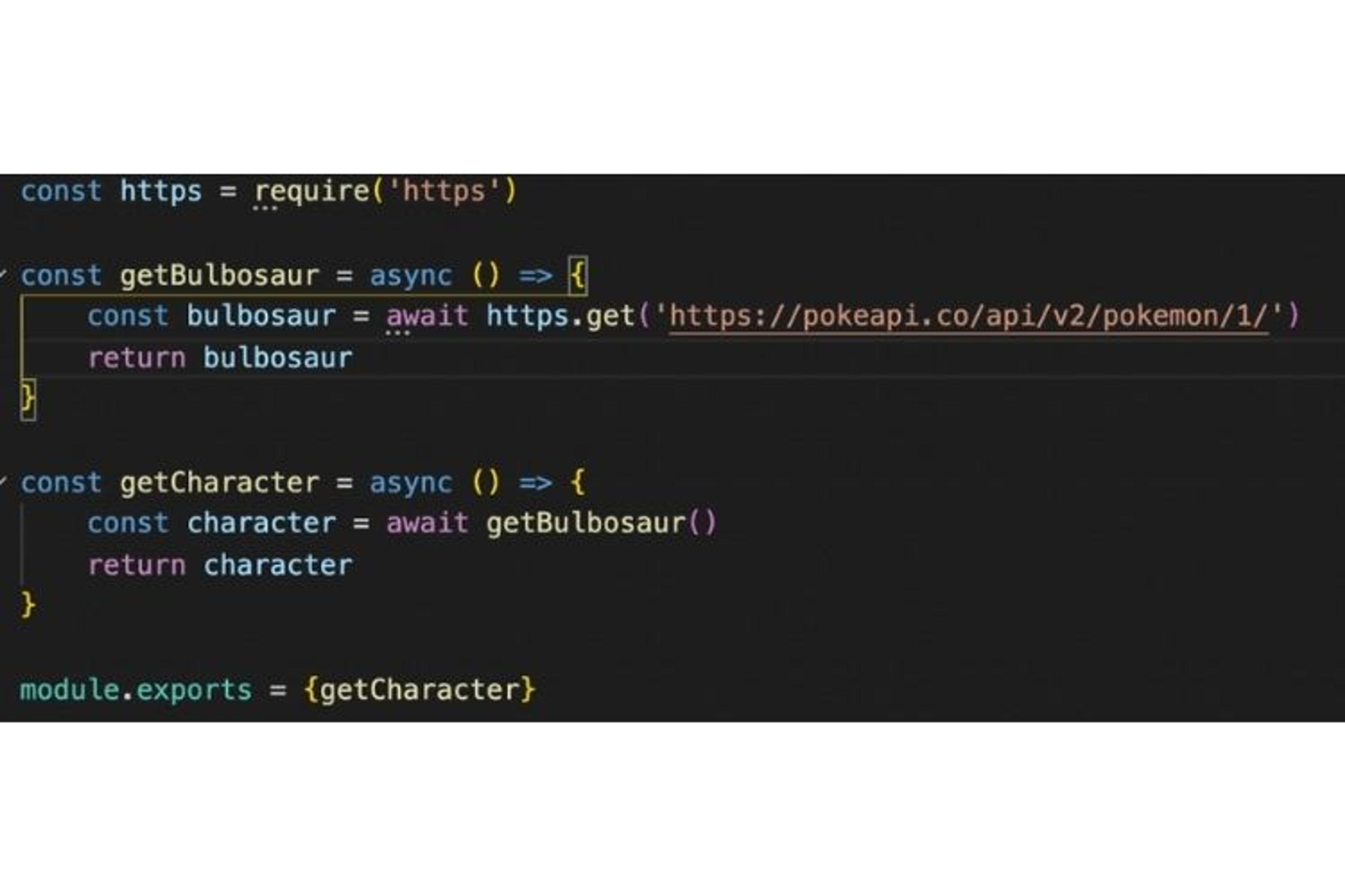 la fonction getBulbosaur fait un appel vers une API externe, chose qu'on ne doit pas tester