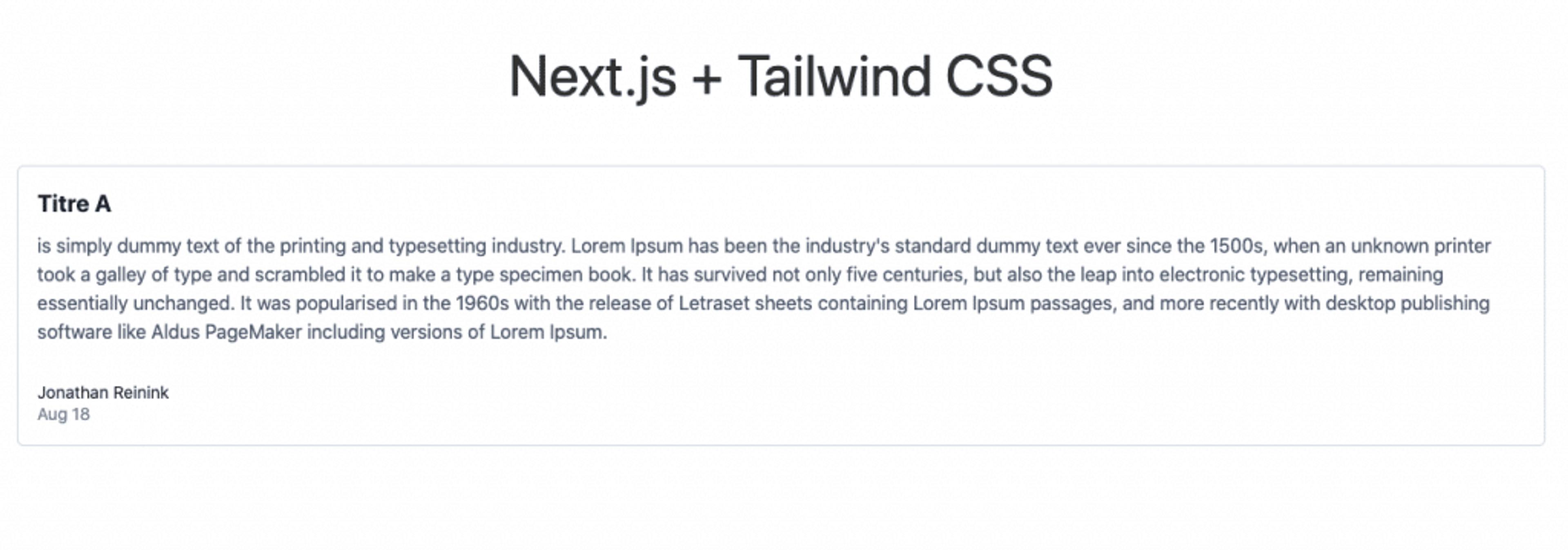 Exemple d'un composant Next JS mis en forme avec tailwindcss