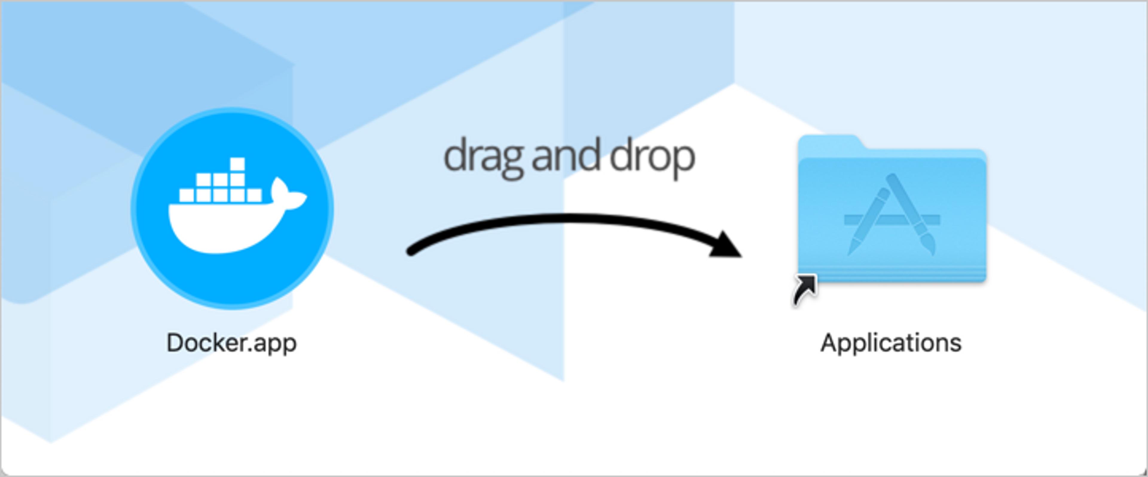 Glisser l'icone Docker vers le dossier Application pour installer Docker