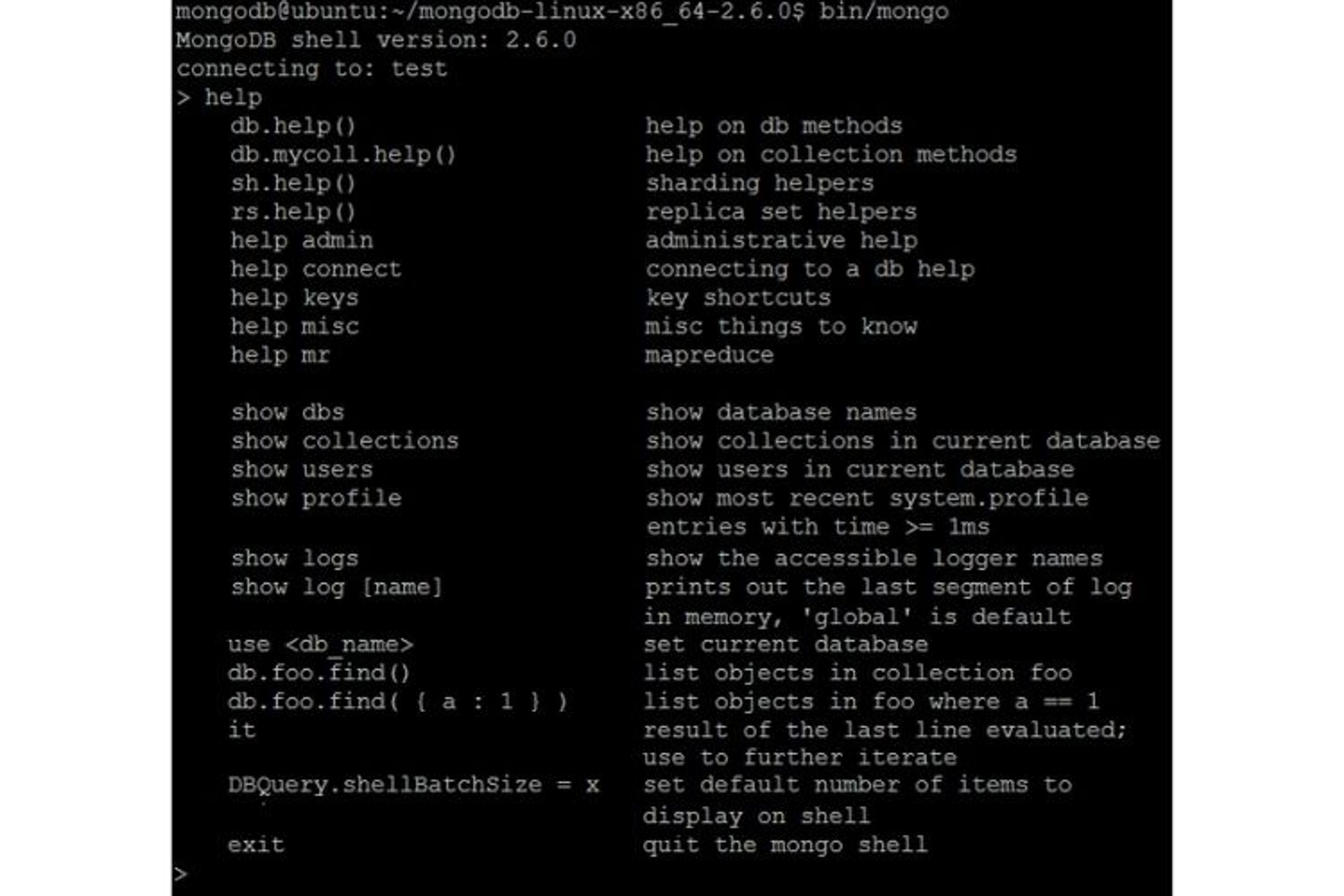 Voici à quoi ressemble le Mongo Shell. Il s'agit d'un terminal MongoDB demandant de l'expérience pour être utilisé correctement.