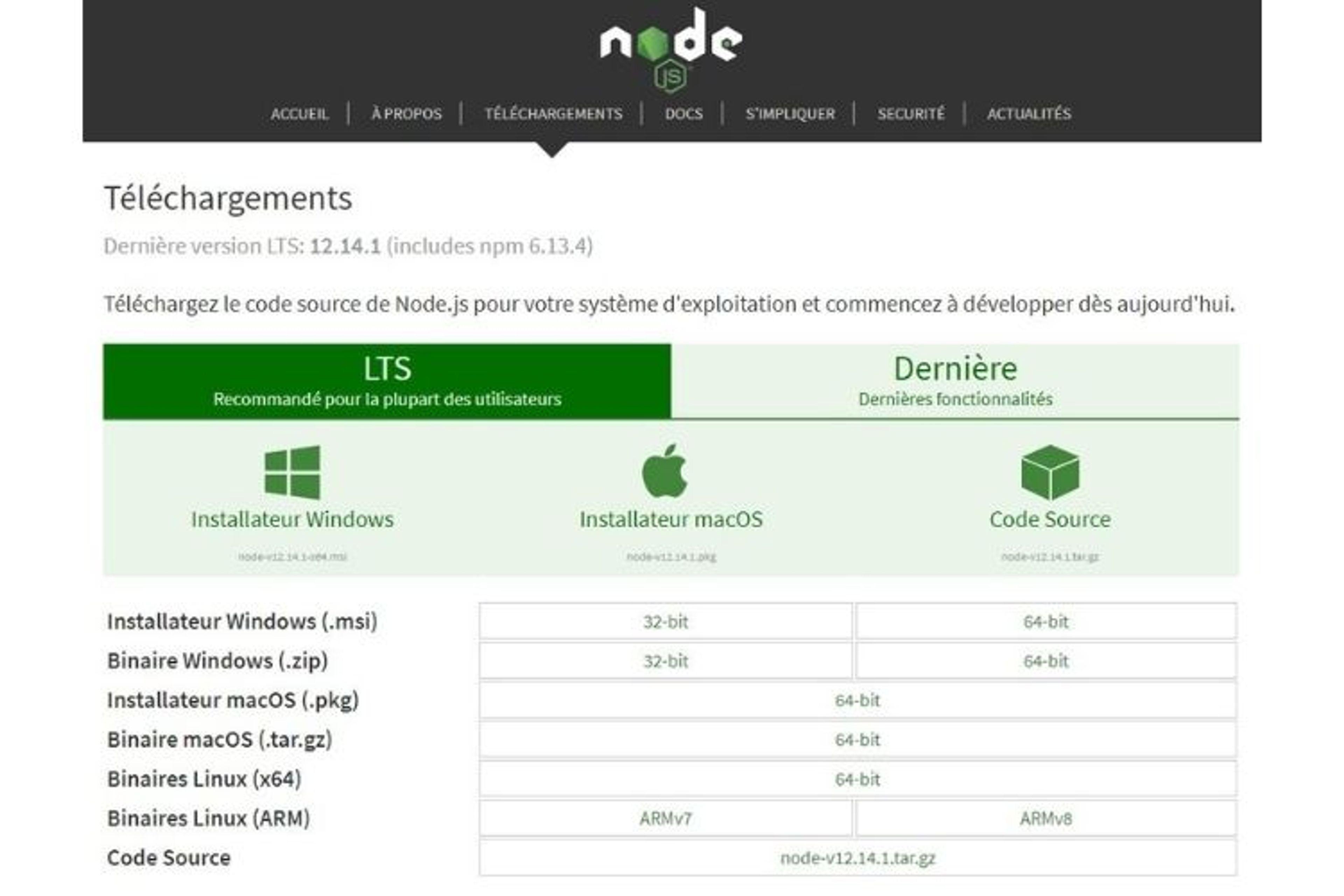 Page télécharger node js windows 10 officielle