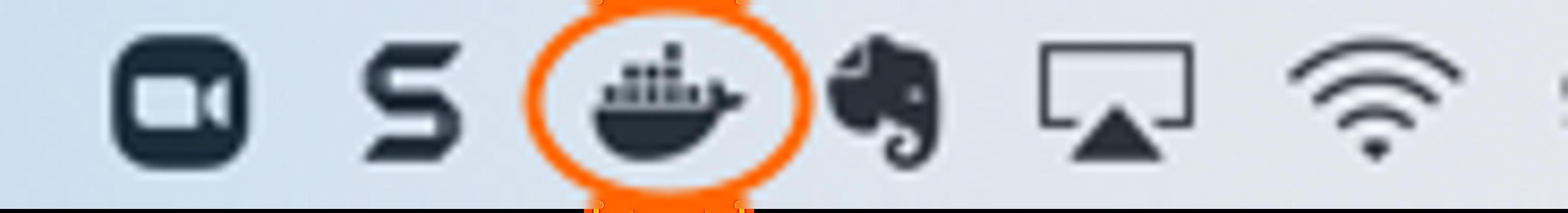 L'icône Docker apparaît sur votre menu supérieur droit de votre mac