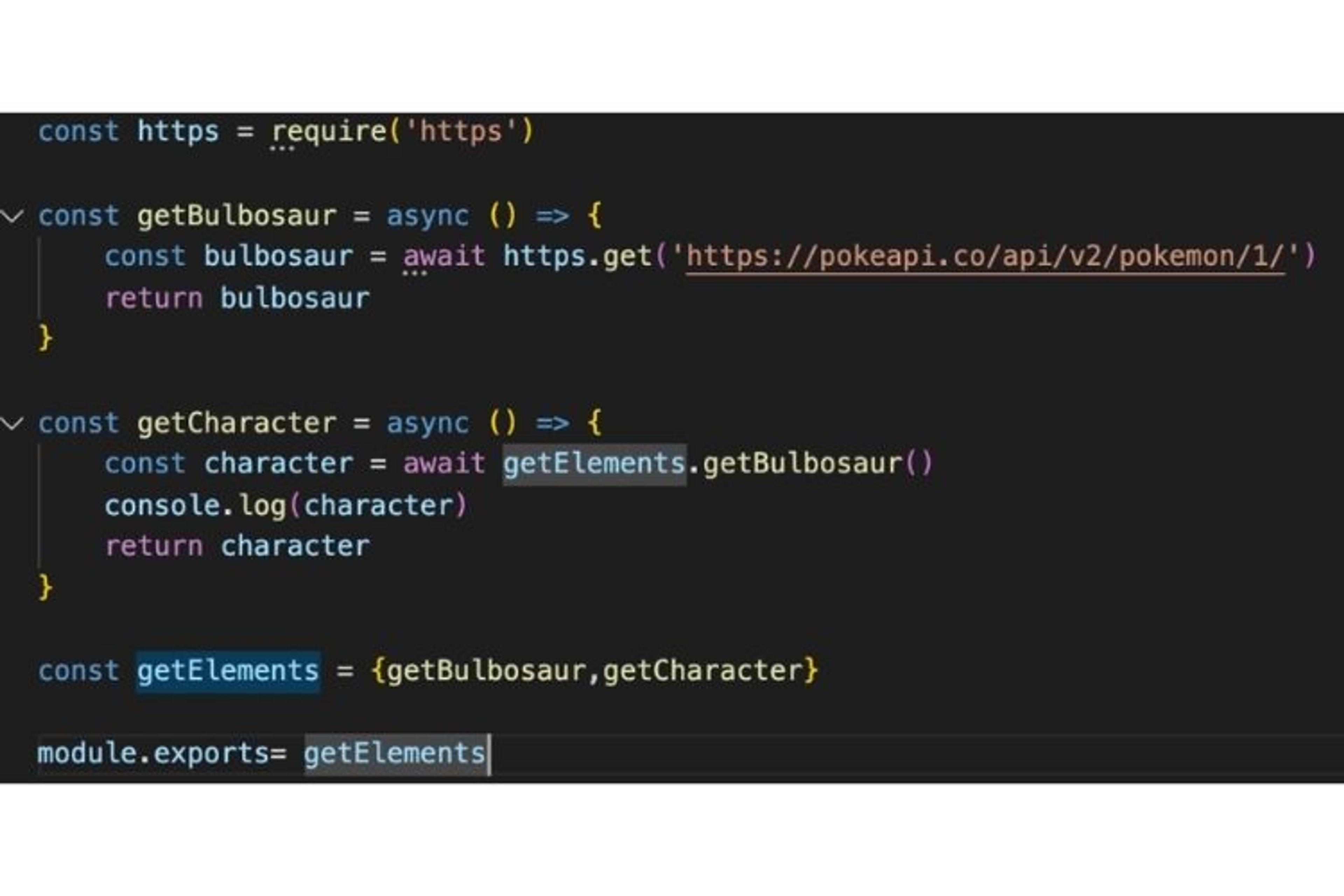 """Je crée l'objet getElements afin de pouvoir """"mocker"""" la méthode getBulbosaur"""