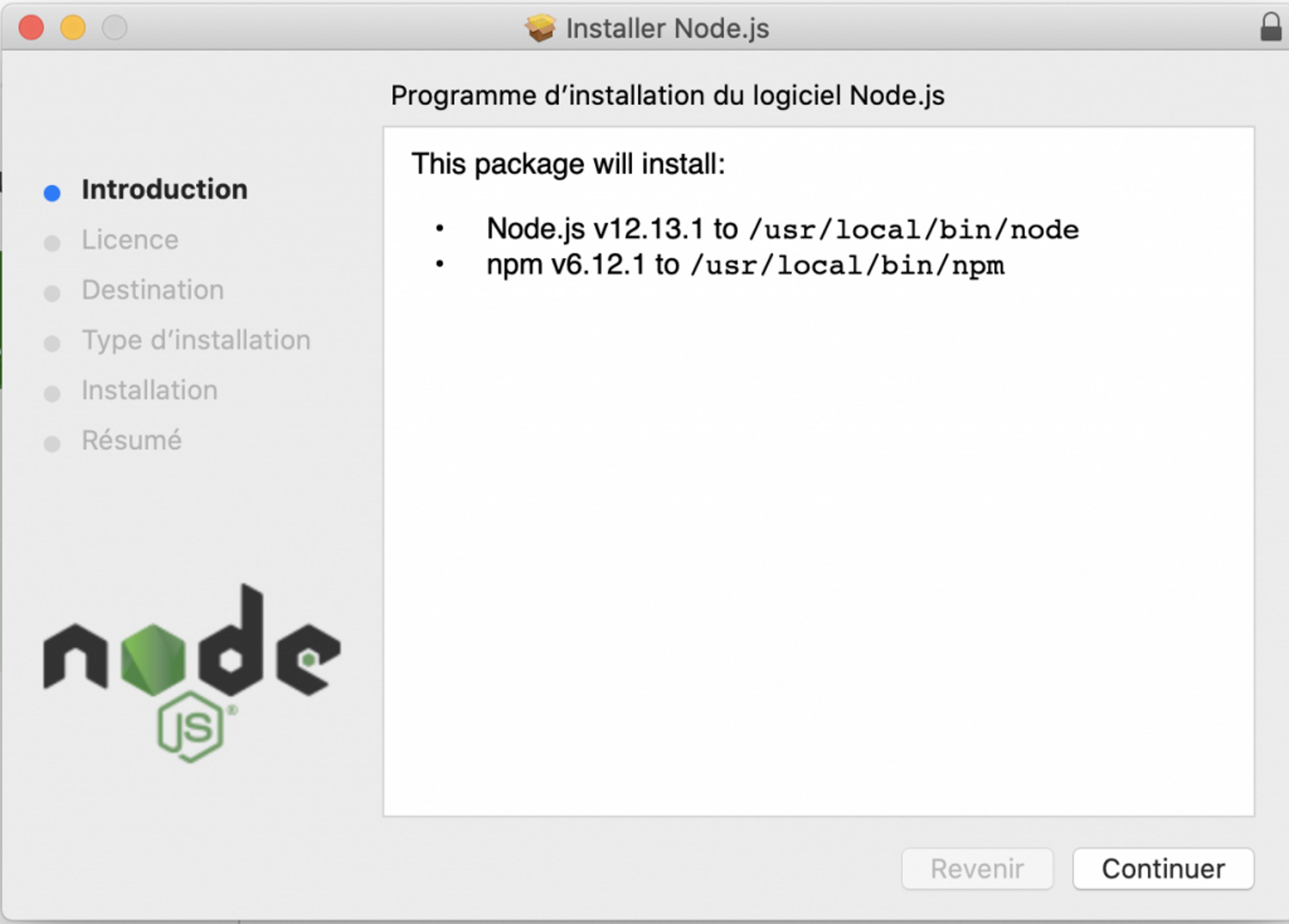 Suivre les instruction de l'installer NodeJS pour mac