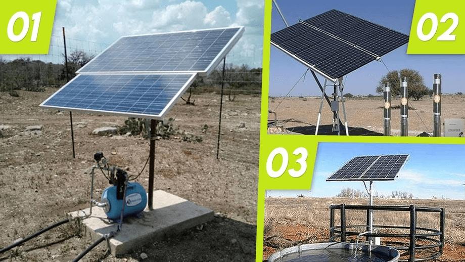 3 tipos de Sistemas de  Bombeamento Solar