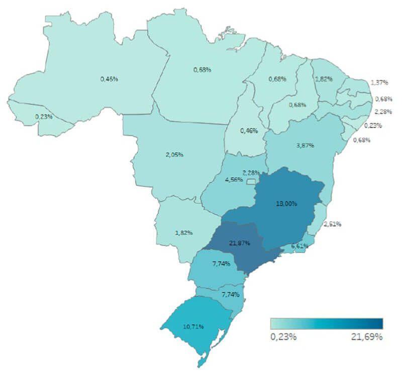 Energia Solar no Brasil - Localização das Sedes das Empresas de Energia Solar