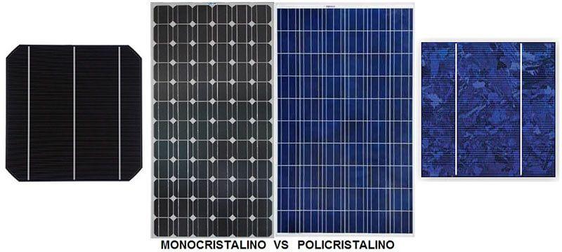 Diferenças visuais entre o módulo fotovoltaico com células monocristalinas e policristalinas