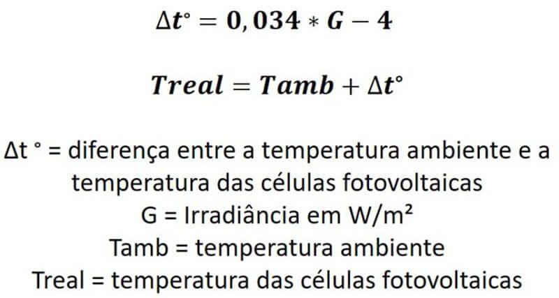 Equações de temperatura da célula fotovoltaica