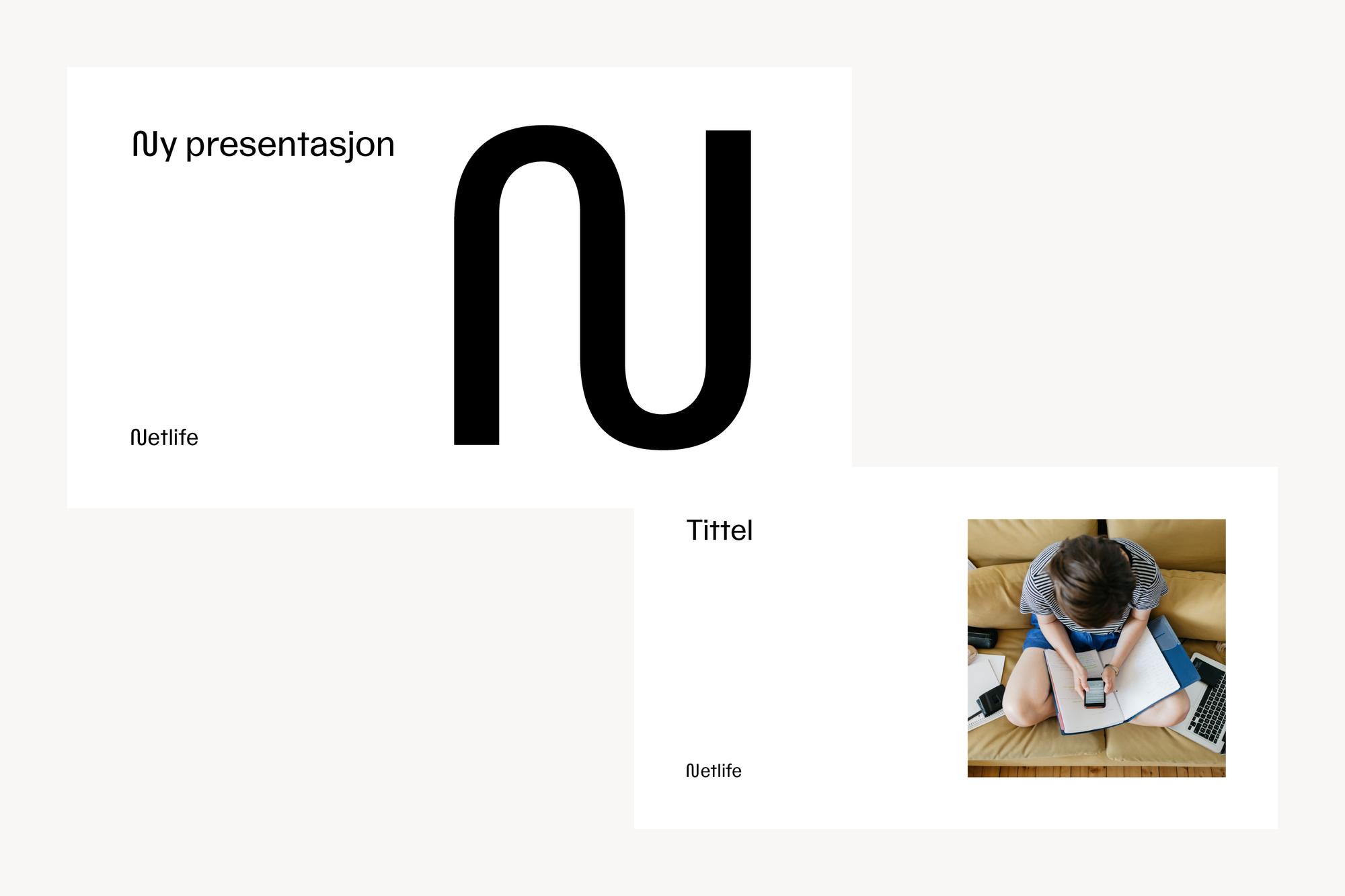 Eksempel på to forsider med bilde og logosymbol