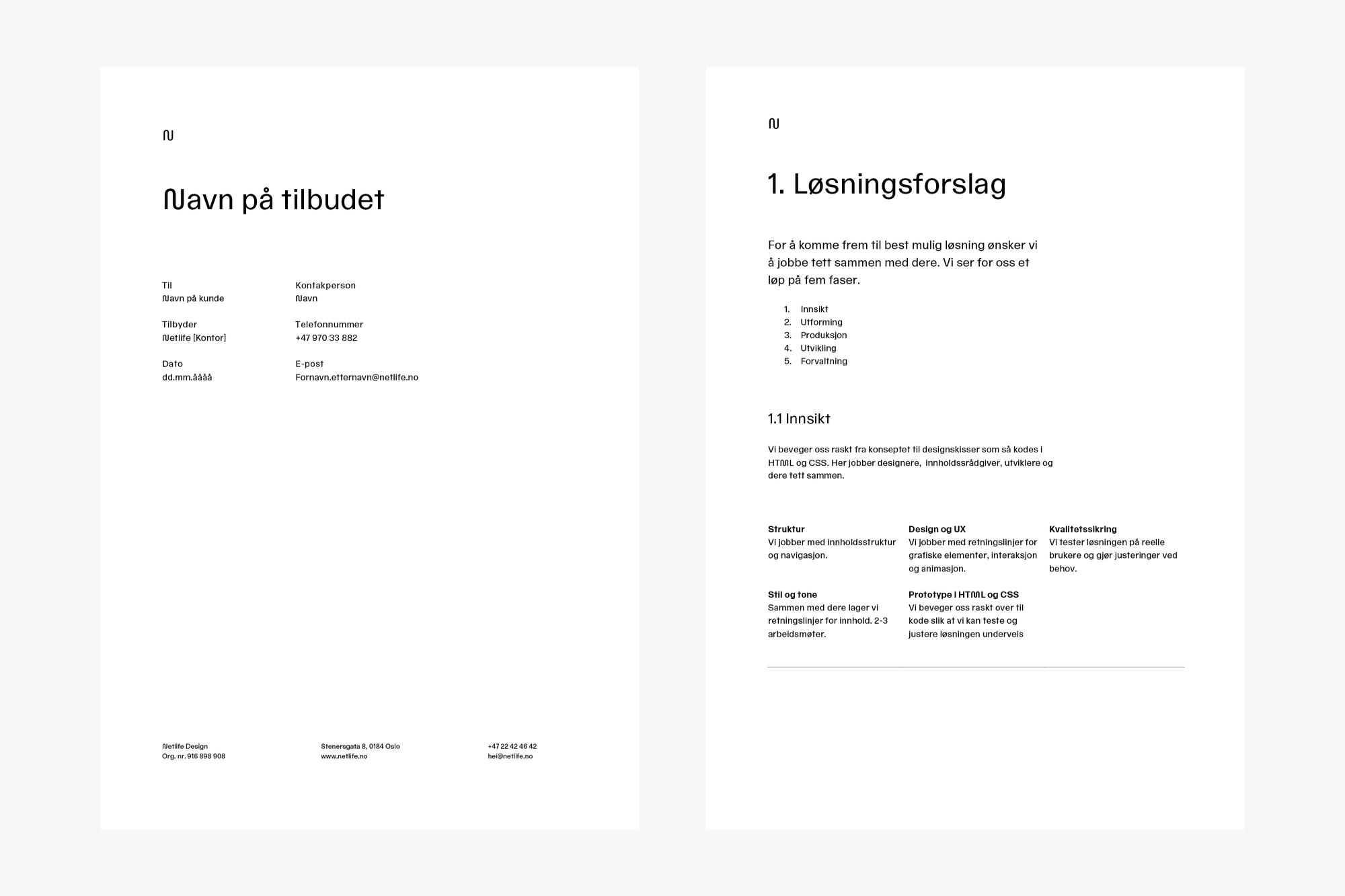 Bilde av forside og innside av tilbudsmalen