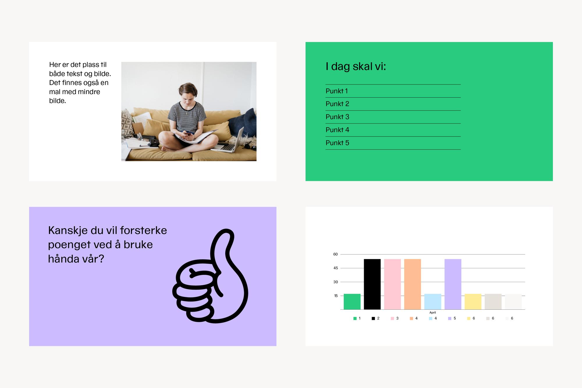 Fire eksmepler på fargebruk, bildebruk og illustrasjoner