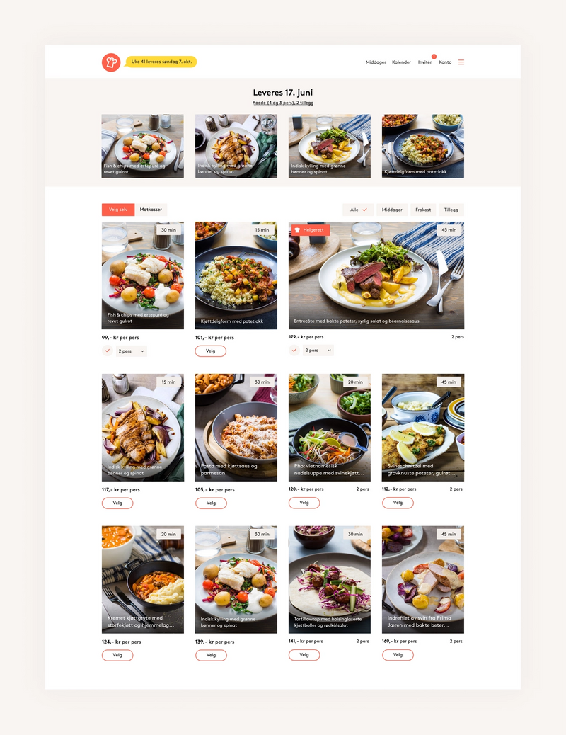 Screenshot av visning av forskjellige matretter