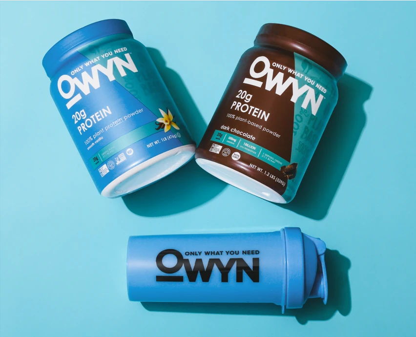 OWYN Protein Powders and OWYN shaker cup