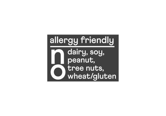 Allergy Friendly. No dairy, soy, peanut, tree nuts, wheat/gluten