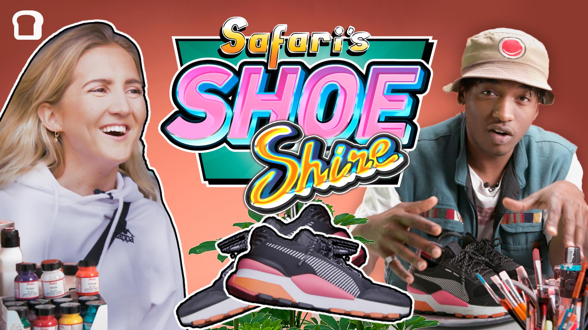 Safari får et par sko Nora kun har brukt én gang. De er megafreshe, men passet ikke bra nok på Noras føtter. Nå blir de pimpet av Safari, og er klare for å trekkes ut til en ny eier som passer de hakket bedre en Nora.