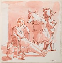 Seated Figure with Foxes, 1987