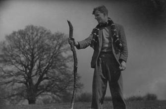 Dick Vaughan holding dead branch [P42]