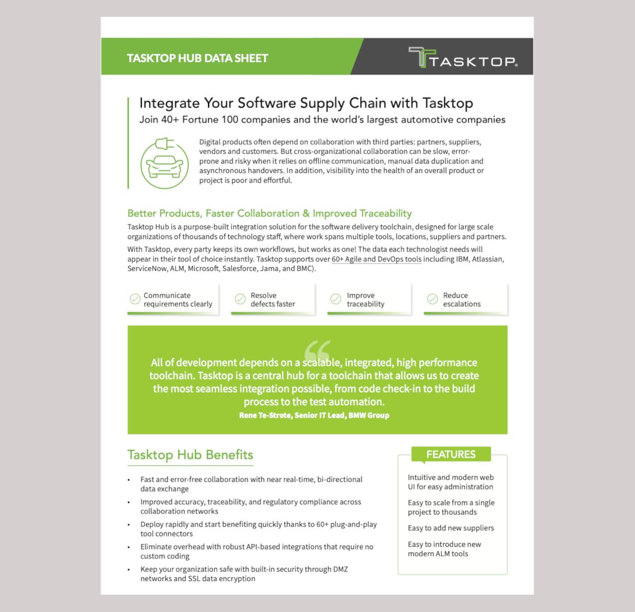 Tasktop hub supply chain data sheet