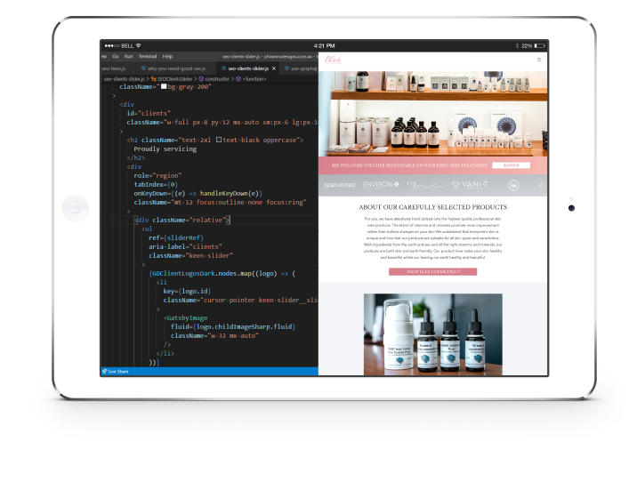 website tablet mockup