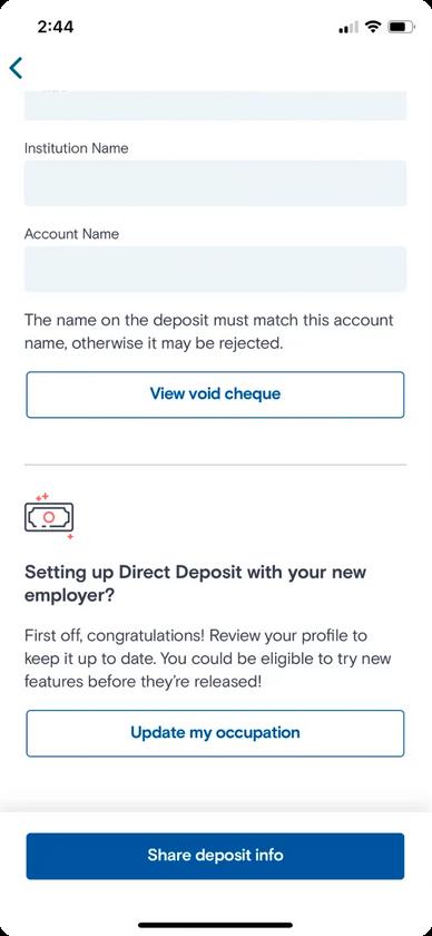 Set up direct deposit