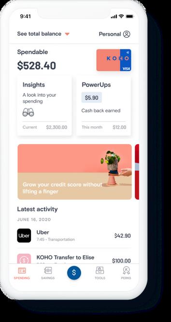 KOHO App Homepage