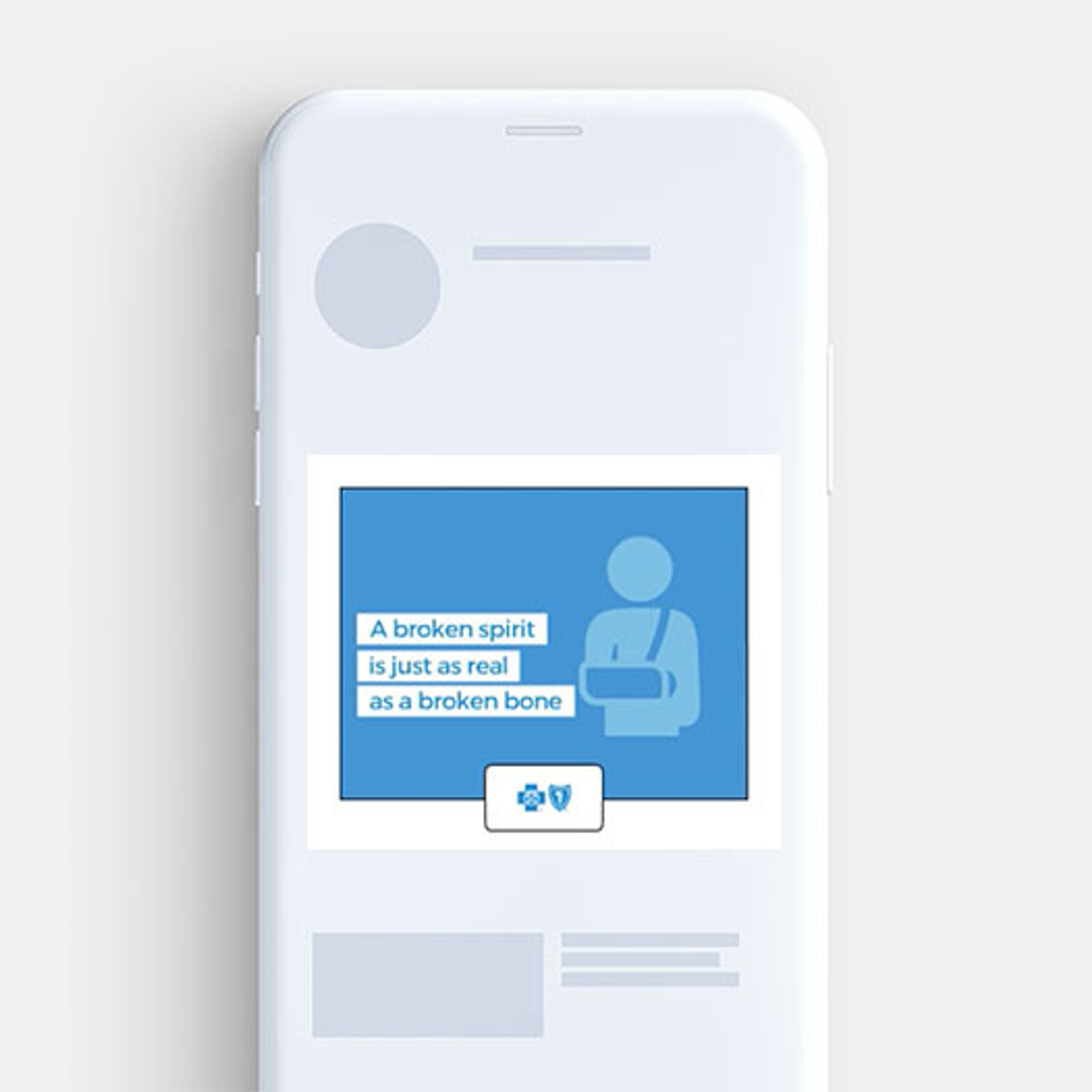 Blue Cross Blue Shield digital banner on mobile phone promoting awareness around stigma