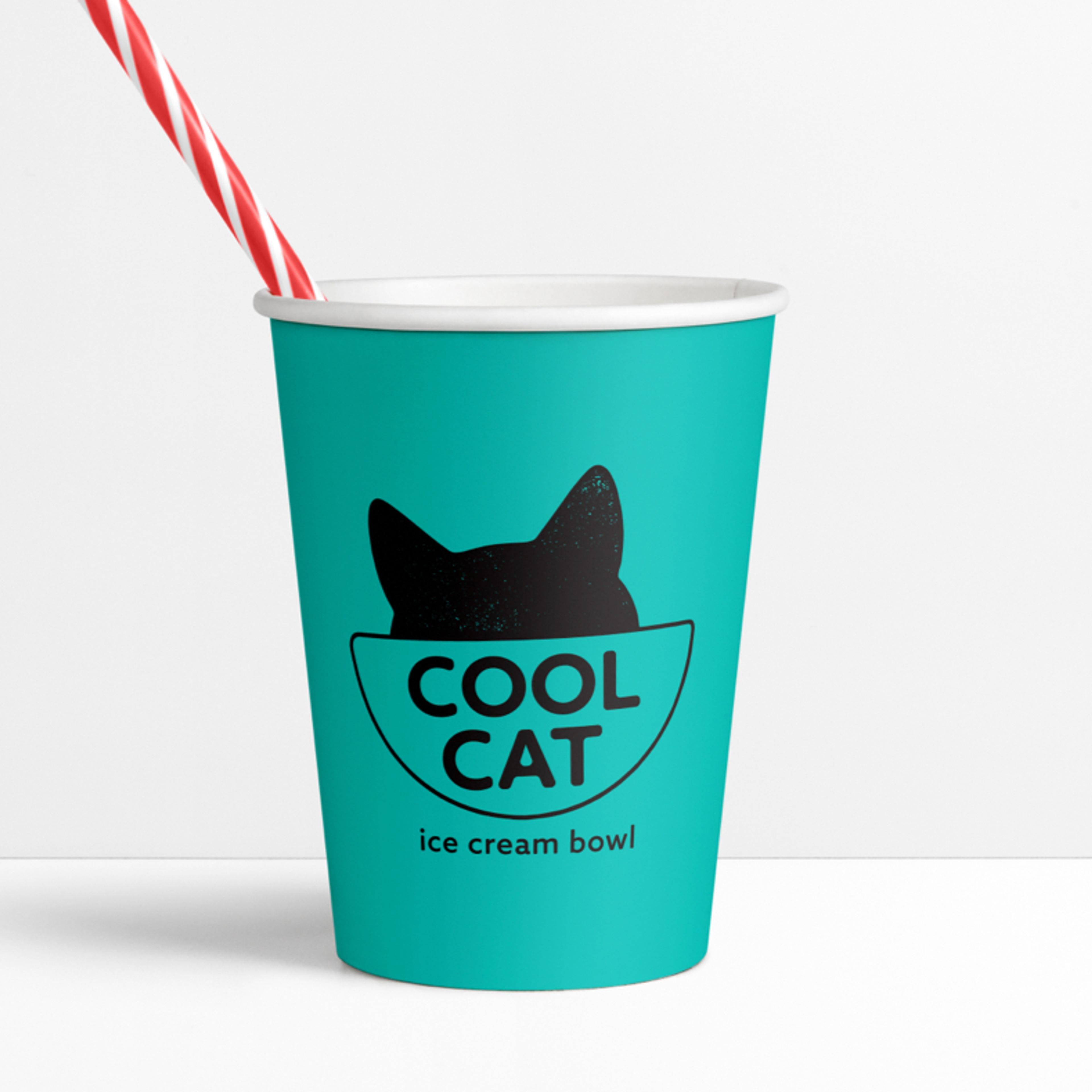 Cool Cat ice cream cup brand and logo design