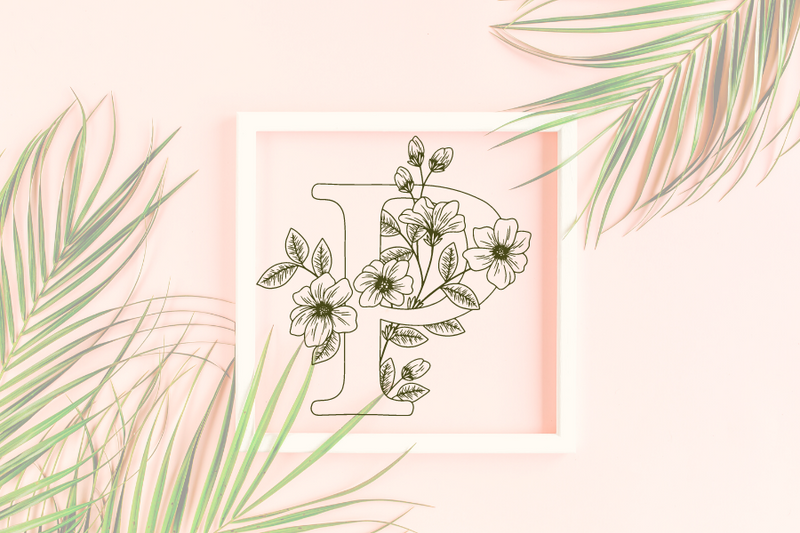 Letter P graphics with floral background